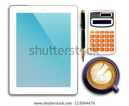 Tablet,pen,calculator and cup of coffee isolated on white background - stock photo