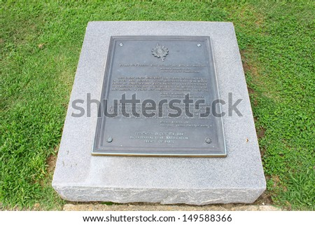 Tablet remembering the Bicentennial of the treaties of Paris and Versailles which secured the peace and established independence of the United States of America. - stock photo
