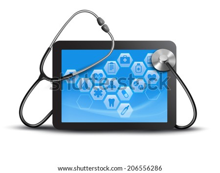 Tablet screen with medical icons and stethoscope - stock photo