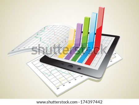 Tablet showing a spreadsheet and a paper with statistic 3d charts