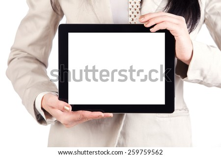 tablet touch computer gadget in female hands holding - stock photo