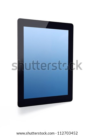 tablet touch computer gadget with blue screen on an isolated background