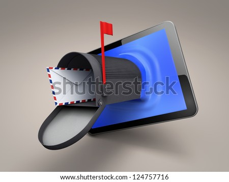 tablet whith mailbox - stock photo