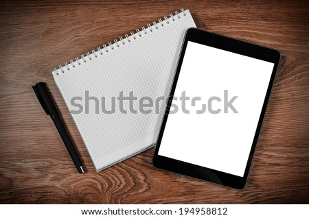 Tablet with an empty screen for your text or image