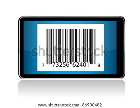tablet with Barcode illustration design - stock photo