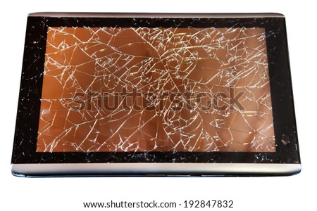 Tablet with broken touchscreen on white - stock photo