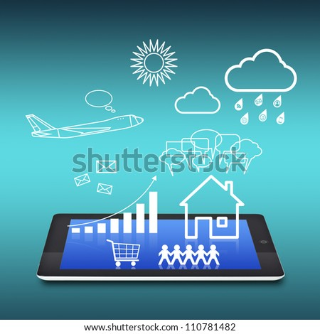 tablet with business concept