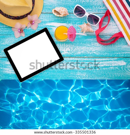 Tablet with clean screen on wooden table. Fashionable clothes sunglasses, hat, flip-flops for beach holiday. Orange juice, orchid flowers. Flat mock up for design. Top view. - stock photo