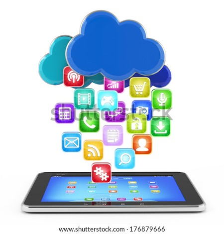 Tablet with cloud of application icons isolated
