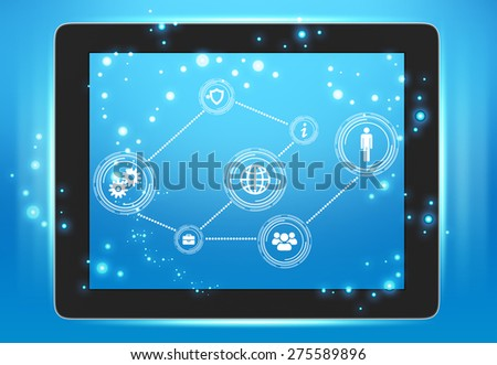Tablet with icons on the screen interconnected points. - stock photo