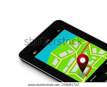 tablet with navigation application isolated over white background