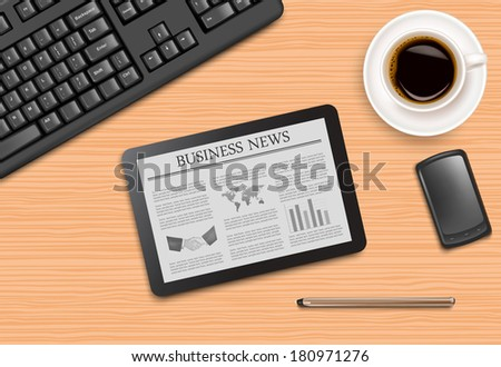 Tablet with news and office supplies laying on the board. Raster version - stock photo