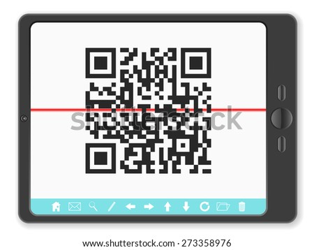 tablet with QR code illustration. - stock photo