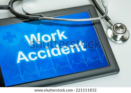 Tablet with the text Work accident on the display - stock photo