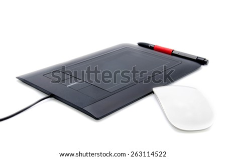 tablet with white mouse