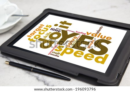 tablet with yes we can word cloud