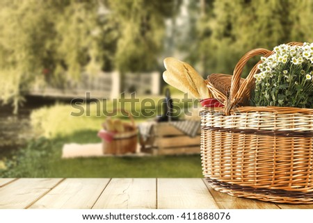 tabletop background of summer day and picnic  - stock photo