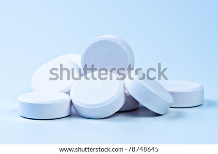Tablets close up. Theme of Medicine and Health. Macro photography.
