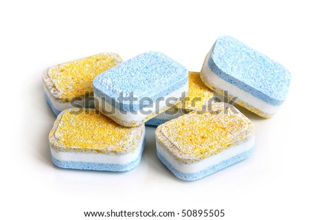 Tablets for dish-washing machine on a white background - stock photo