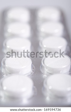 tablets in a package. Treatment, health care, medicine, virus, flu, seasonal allergies