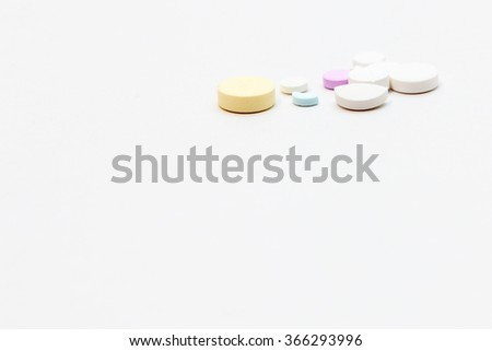 Tablets mix drugs pills capsules therapy doctor flu antibiotic pharmacy medicine medical - stock photo