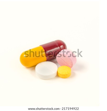 Tablets mix heap drugs pills capsules therapy doctor flu antibio - stock photo