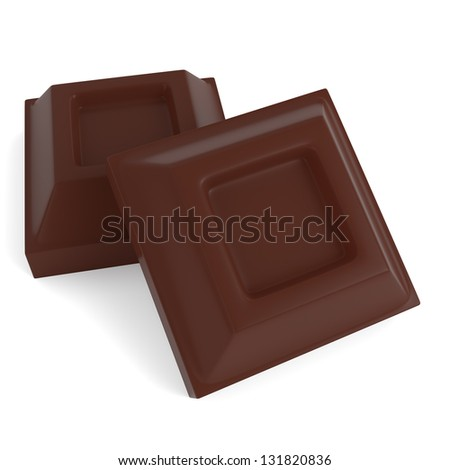 Tablets of milk chocolate isolated on white background. Computer generated image with clipping path