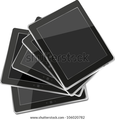tablets pc set isolated on white background. Raster