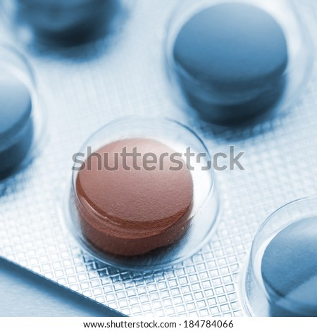 Tablets pills therapy flu in a Blister packaging antibiotic pharmacy medicine medical - stock photo