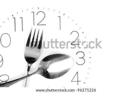 Tableware on clock face