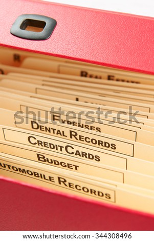 Tabs In Bill Organizer - stock photo