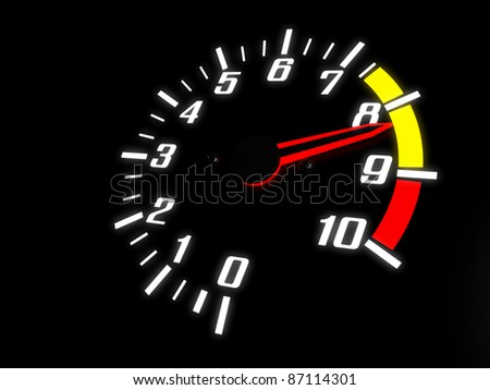 Tachometer Almost Reaching The Red Zone - stock photo