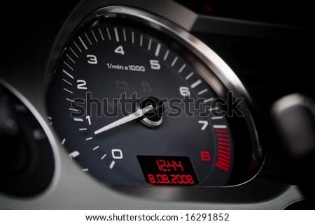 Tachometer of a luxury car closeup - stock photo