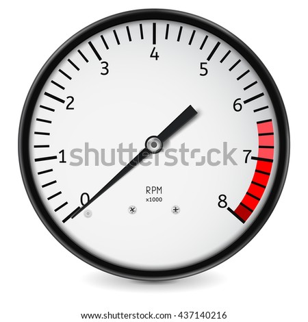 Tachometer. Realistic illustration isolated on white background. Raster version