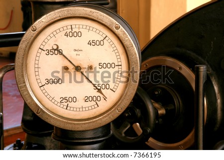 Tachometer, revolution counter or rev counter - vintage machine part