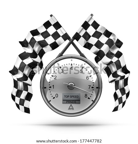 tachometer. Two crossed checkered flags isolated on white background High resolution 3d render