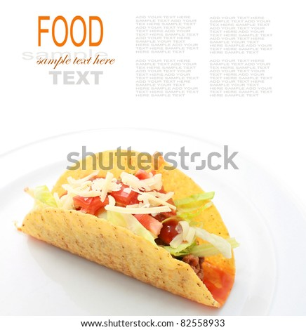 Taco or Tortilla shells with spicy chilli beef - stock photo