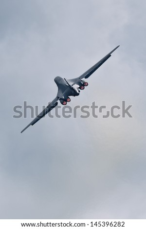 TACOMA, WA - JULY 21: B-1B Lancer flyby demonstration during Air Expo at McChord Field Joint Base Lewis-McChord on July 21, 2012 in Tacoma, WA.  - stock photo