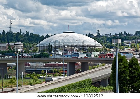 TACOMA, WA -JUNE 14:  The Tacoma Dome is one of the largest wood dome structures in the world, and hosted the 1990 Goodwill Games.  June 14, 2011, Tacoma, WA - stock photo