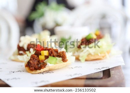 tacos with tomatoes - stock photo
