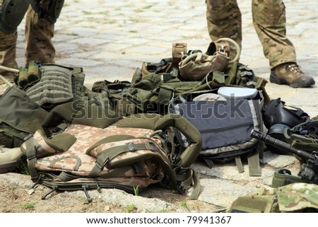 Tactical equipment of special forces. Military accessories of special forces soldiers.