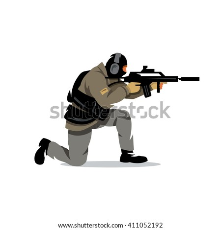 Tactical shooting Cartoon Illustration. Armed military preparing to shoot with automatic rifle. Branding Identity Corporate unusual Logo isolated on a white background