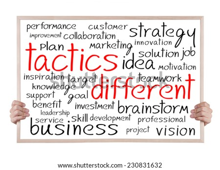 tactics different and other related words handwritten on whiteboard with hands - stock photo