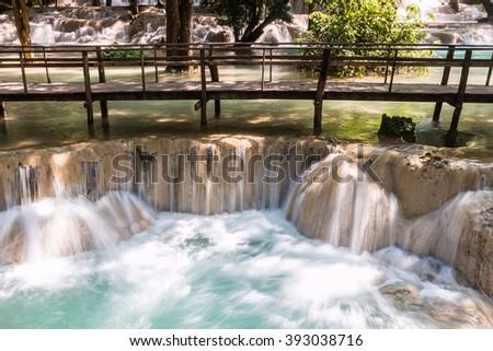Tad Sae Waterfall, Luang Prabang, Laos - stock photo