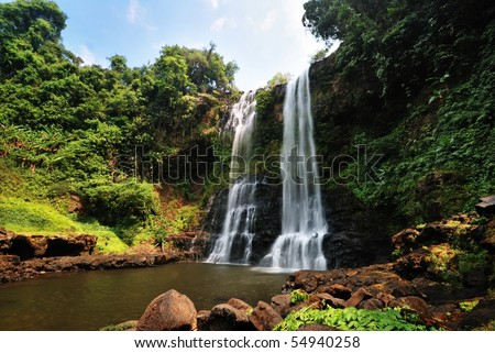 Tad-Yueng Waterfalls, Laos - stock photo