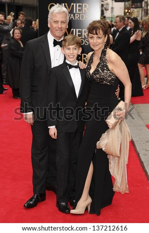 Tade Biesinger and family arriving for the Laurence Olivier Awards 2013 at the Royal Opera House, Covent Garden, London. 28/04/2013