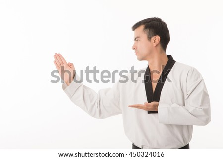 Taekwondo black belt isolated with white background. - stock photo