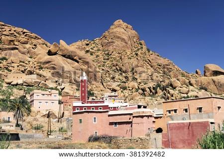Tafraoute in the Anti-Atlas mountains, Morocco, Africa - stock photo