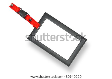 Tag, Blank badge with black frame - stock photo