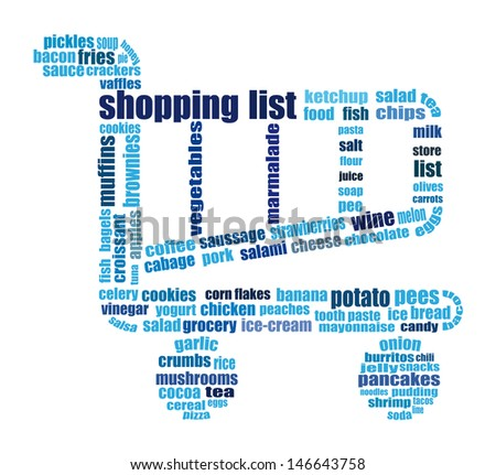 Wonderful Tag Cloud Composed Of Words Related To Grocery Shopping. Words In Blue Tone  On White  Grocery Words